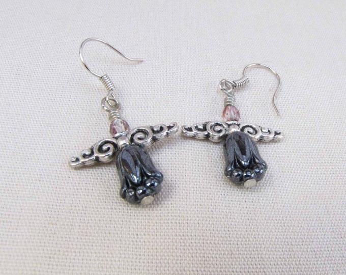 Fairy Silver  Wings Earrings Dangle Earrings  Black Silver Dangle Earrings Handmade Jewelry # 46