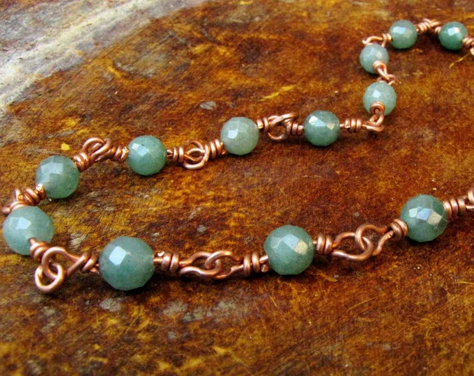 Green Faceted Jade Beads  Wire Wrapped Copper Choker Necklace Handmade Jewelry