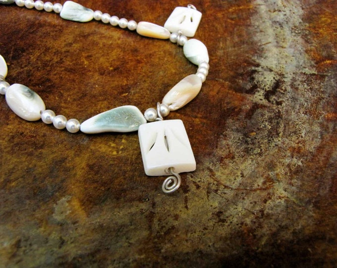 Pearl Shell Carved bone necklace Sterling silver wire wrapped carved bone Jewelry