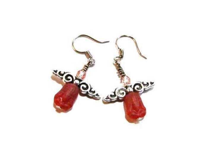 Red Fairy Earrings Angel Dangle Earrings Handmade Jewelry wing jewelry # 73