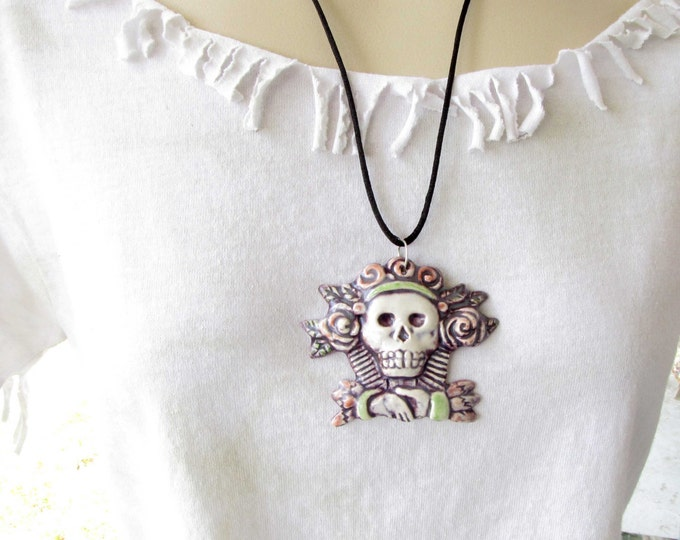 Ceramic Pendant Necklace Jewelry Dios de la meurte Sugar skull Day of The Dead