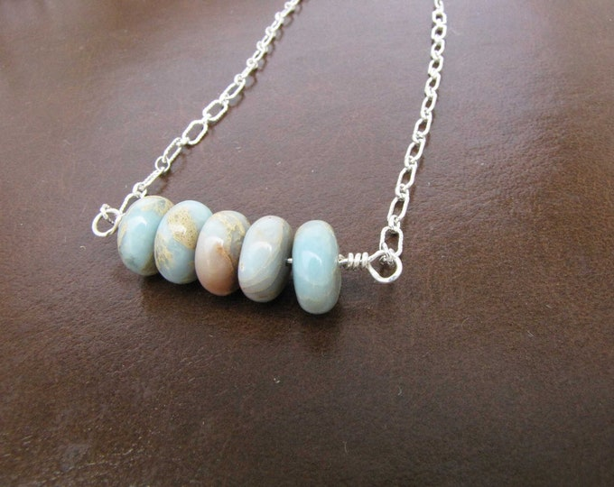 Aqua Tera Jasper Necklace Blue Beige Brown Sterling Silver Necklace Handmade Jewelry # 56