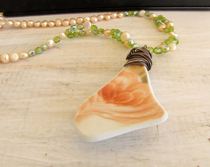 Ceramic Shard Vintage Necklace recycled upcycled repurposed Vintage China Handmade Jewelry Peach Pearl Wire Wrapped Glass shard Green #23
