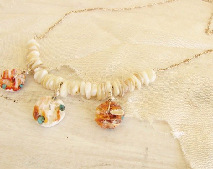 Spiny Oyster Turquoise Orange Mother of Pearl Heishi Sterling Silver Wire Wrapped Necklace Handmade Jewelry #15