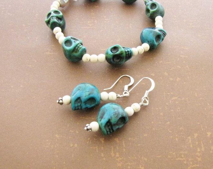 Skull Stretch Bracelet Skull Earrings set Dyed Green Magnesite Natural Magnesite Bracelet Earring Set Day of the Dead 1214