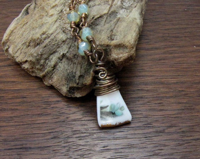 Green White Ceramic Shard Vintage Necklace recycled upcycled repurposed Vintage China Handmade Jewelry Wire Wrapped Glass shard