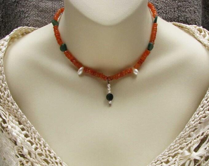 Carnelian rondell Jade heart pearl teardrop Necklace Jade heart pearl pendant
