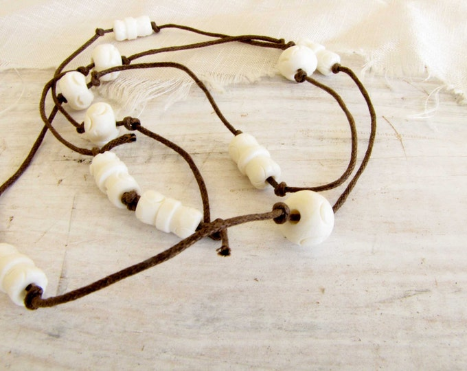 Knotted Linen Carved Bone Necklace Handmade Jewelry Brown Cream Simple Elegant Handmade Jewelry #12