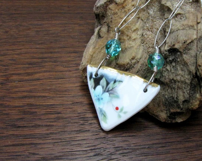 Silver Green White Ceramic Shard Vintage Necklace recycled upcycled repurposed Vintage China Handmade Jewelry Wire Wrapped Glass shard