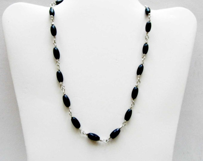 Black Goldstone Sterling Silver Wire Wrapped Necklace Goldstone Bead Choker Necklace # 89