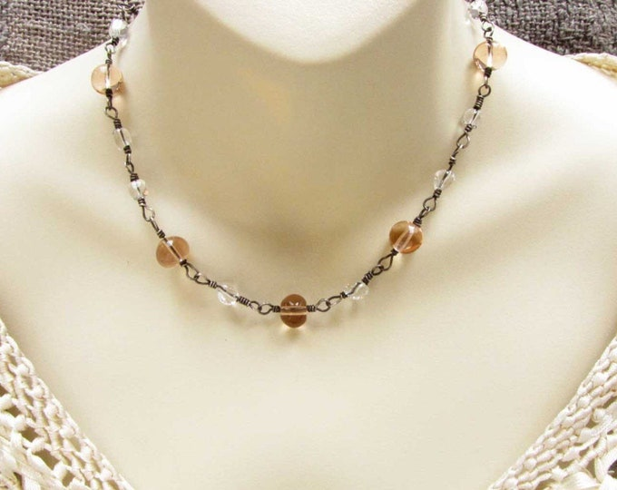 Sterling Silver Wire Wrapped Glass Bead Choker Necklace One of a Kind Necklace