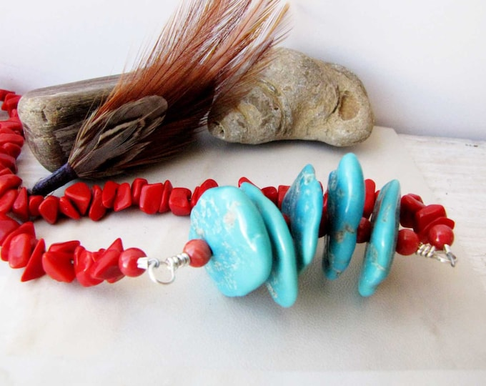 Coral Turquoise Necklace Turquoise Beaded Wire Wrapped  Rare Sleeping Beauty Turquoise Jewelry handmade jewelry  Southwestern Jewelry 77