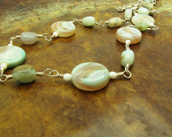Sterling Silver Wire Wrapped Rainbow Agate Choker Necklace Amber Blue Green Cream