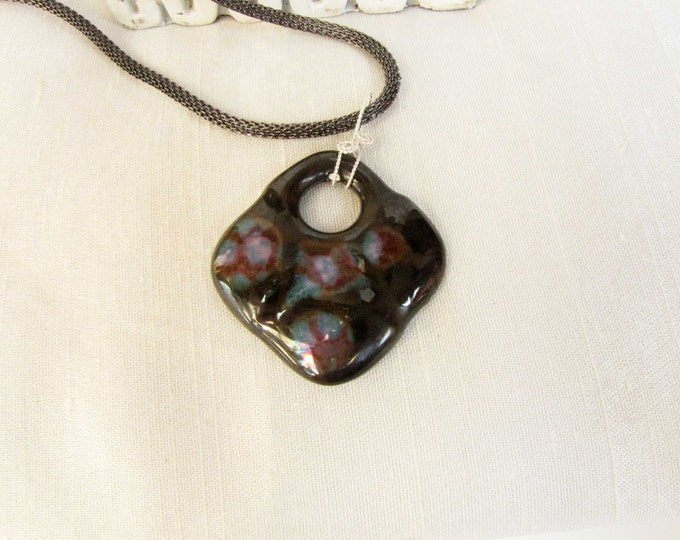 Ceramic Pendant Silver Black Blue Pink Brown Designer Sterling Silver Wire Wrapped Necklace #129
