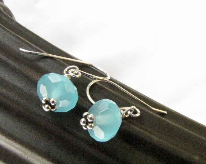 Blue Quartz Sterling Silver Earrings  Faceted Blue Quartz Handmade Jewelry # 60