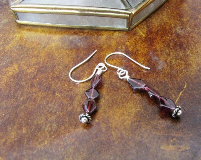 Garnet Sterling Silver Wire Wrapped  Pierced earrings