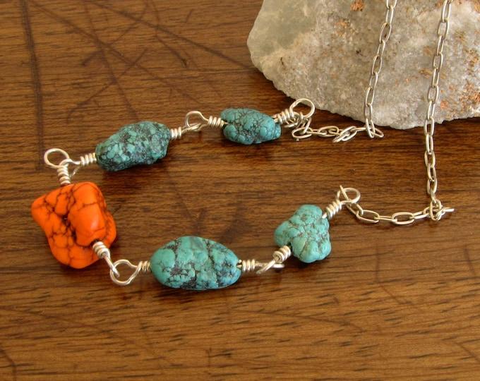 Orange Turquoise Necklace Turquoise Beaded Wire Wrapped Turquoise Jewelry handmade jewelry  Southwestern Jewelry boho chic
