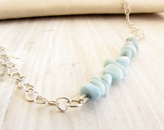 Larimar Sterling Silver  Wire Wrapped Necklace Minimalist Necklace Handmade Jewelry Stefilia's Stone  # 149