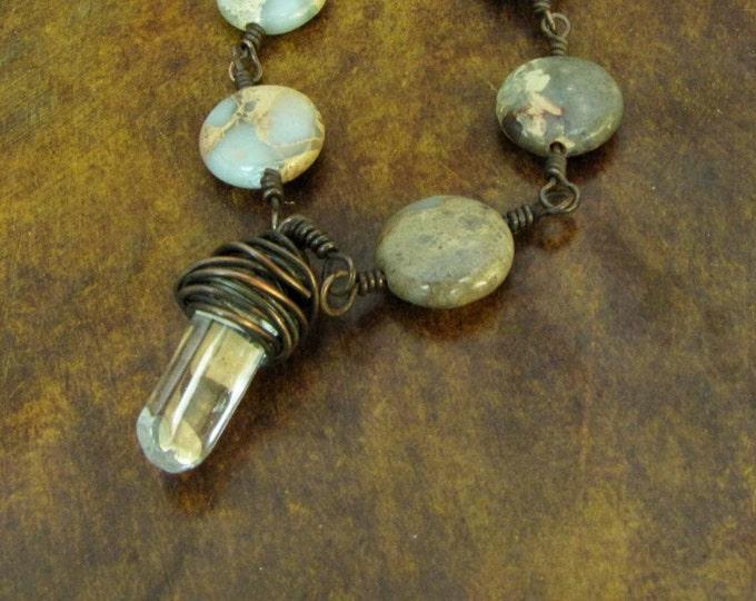 Copper Wire Wrapped Crystal Aqua Tera button bead Necklace Choker Handmade Neckace