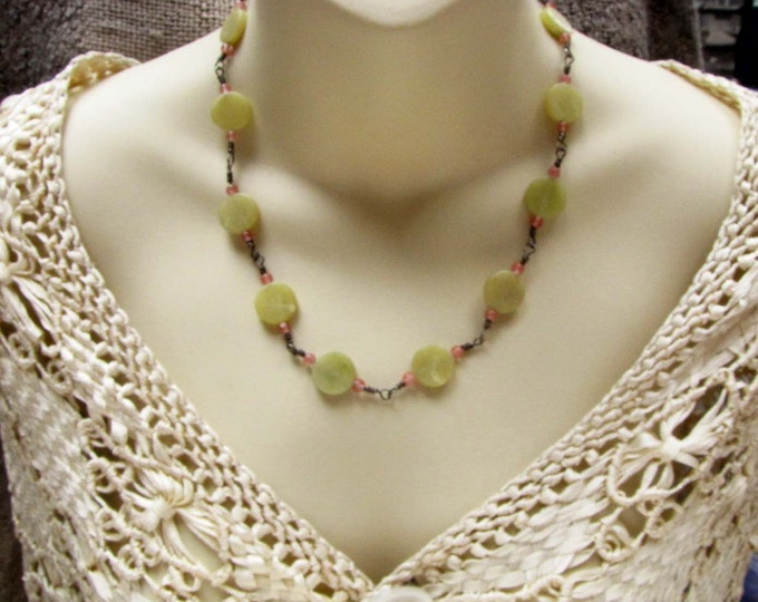 Lime Jade Round Button Wire Wrapped Pink Glass Beads Choker Necklace Sterling Silver Necklace