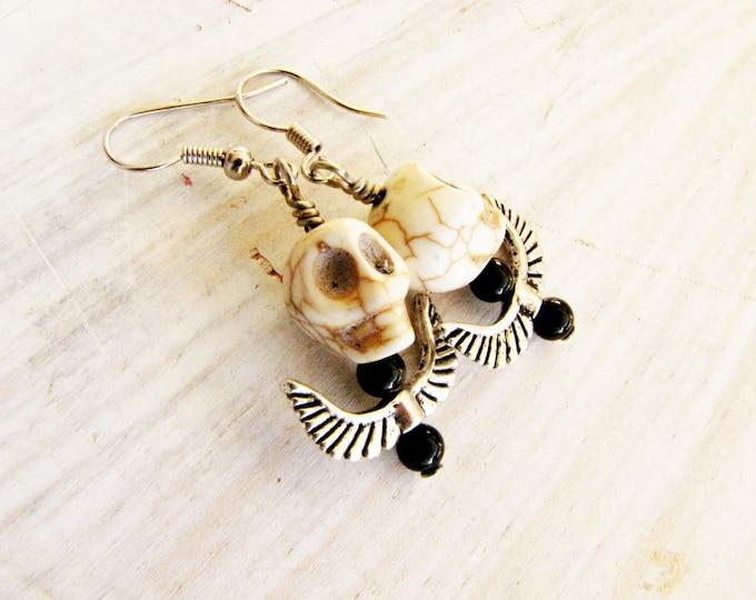 Skull Wing Dangle Earrings Day of the Dead Halloween White Handmade Jewelry Earrings # E 12