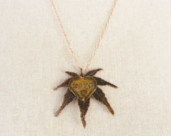 Japanese maple leaf Love Heart Pendant Copper Chain Necklace Copper Leaf 1215