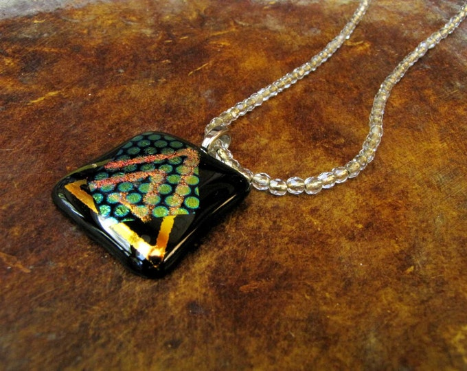 Fused Glass Pendant Necklace Gold Green Rose black Crystal Bead Dichroic  Fused Glass Handmade Jewelry
