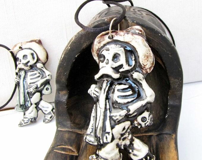 Day of The Dead Ceramic Pendant Necklace Jewelry  Sugar skull Dios de la meurte  Halloween H3