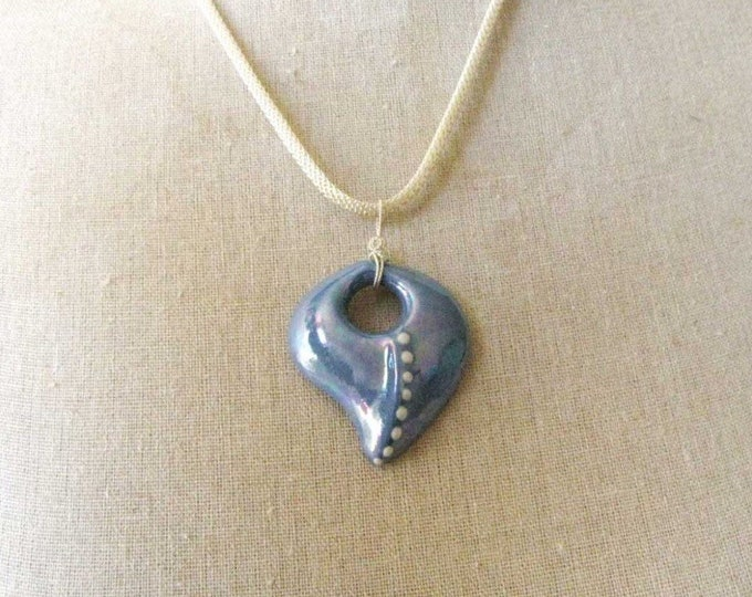 Handmade Blue Heart Designer Pendant Sterling Silver Wire Wrapped Necklace  CP1