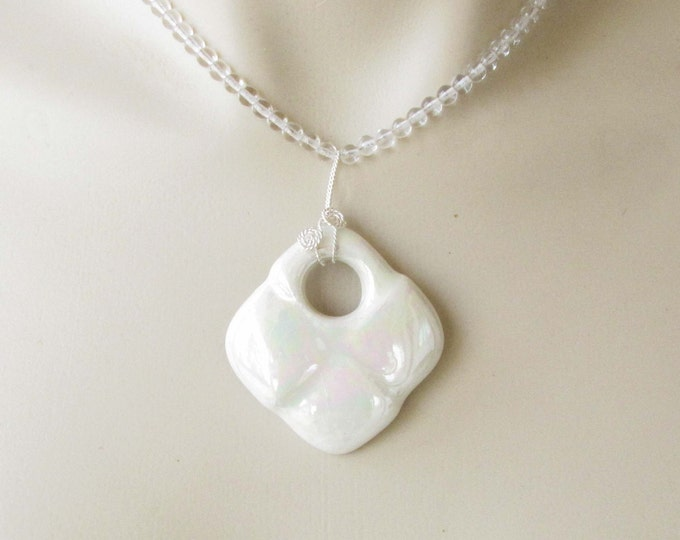Mother of Pearl Ceramic Pendant Clear Round Bead Necklace
