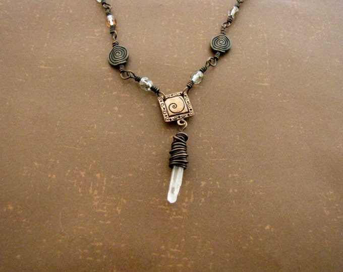 Quartz Crystal Necklace Copper Clear Glass Beads  Wire Wrapped Crystal Bead Handmade Jewelry # 117