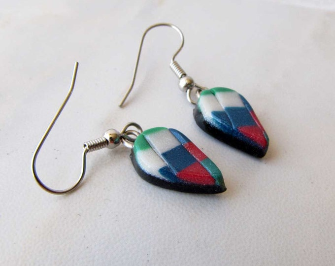 Polymer Clay Earrings White Red Blue Green Bargello Earring Handmade Jewelry Tear drop Polymer Clay # 62