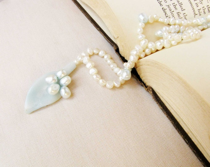 Blue Green  Amazonite Pearl Necklace  Leaf Pendant  Handmade Jewelry blue green white formal wedding # 103
