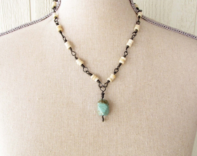 Necklace Turquoise Blue Green Dyed Magnesite Bead Bone Bead Wire Wrapped Necklace Handmade Jewelry # 57