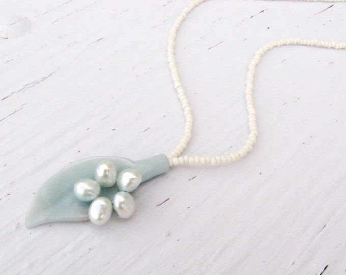 Blue Green  Amazonite Pearl Necklace  Leaf Pendant Seed Bead Handmade Jewelry blue green white formal wedding # 177