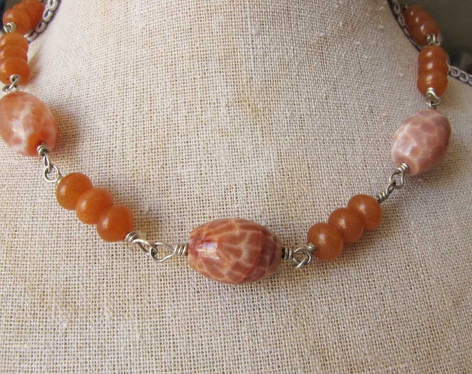 Sterling Silver Wire Wrapped Crab Fire Agate and carnelian Bead necklace Orange Cream Choker Necklace 13