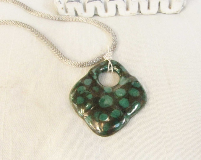 Metalic Gray Green Designer Pendant Sterling Silver Wire Wrapped Necklace #1210