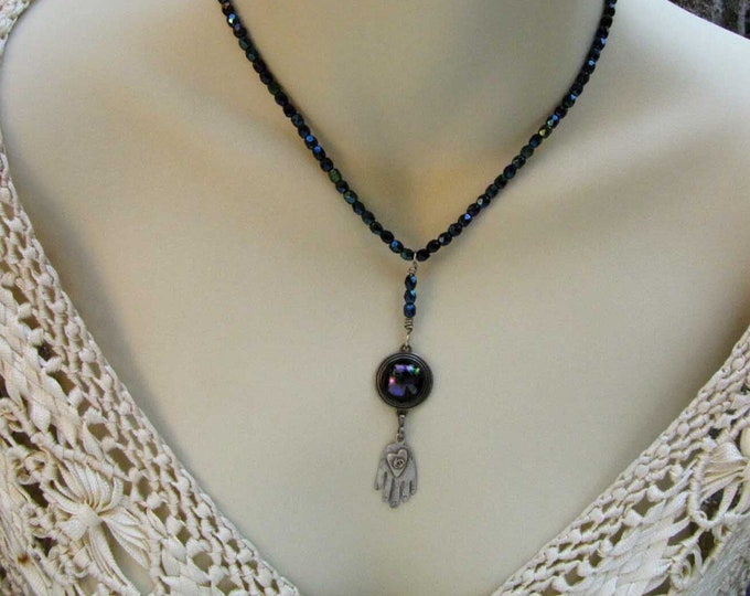 Black Purple Dichroic Fused Glass  Pendant Crystal Bead Blue Purple Necklace  Handmade Jewelry Sterling Hand Heart Charm