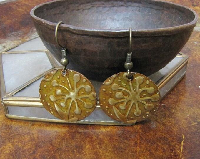 Metal disc embossed earrings Copper Brass Disc earrings