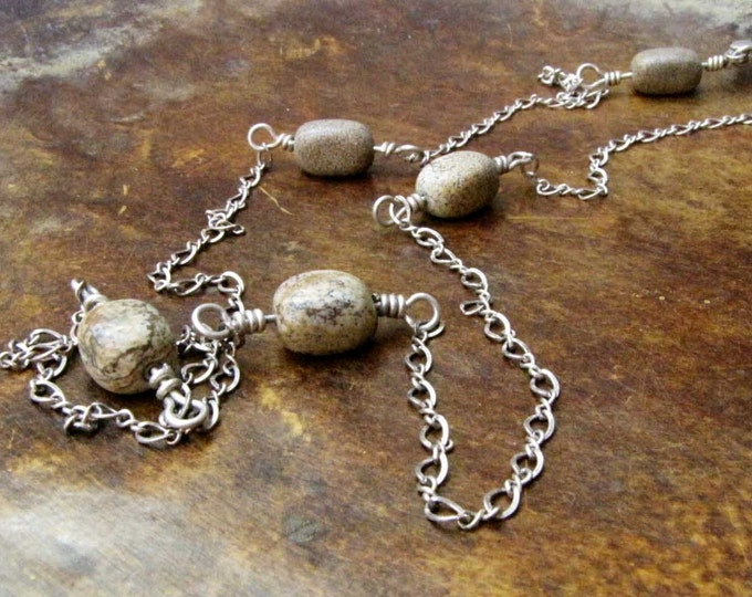 Jasper Bead Sterling silver Chain Wire Wrapped Long Chain Necklace