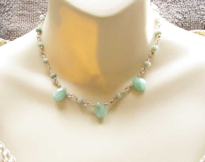 Green Faceted Chrysophase  Beads  Sterling Silver Wire Wrapped Choker Necklace Handmade Jewelry