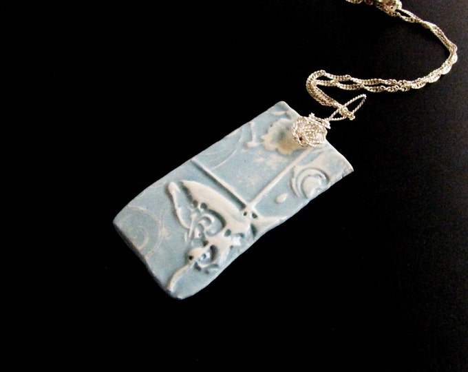 Ceramic Pendant Butterfly Sterling Silver Necklace Handmade One of A Kind Ceramic Shard Pendant #128