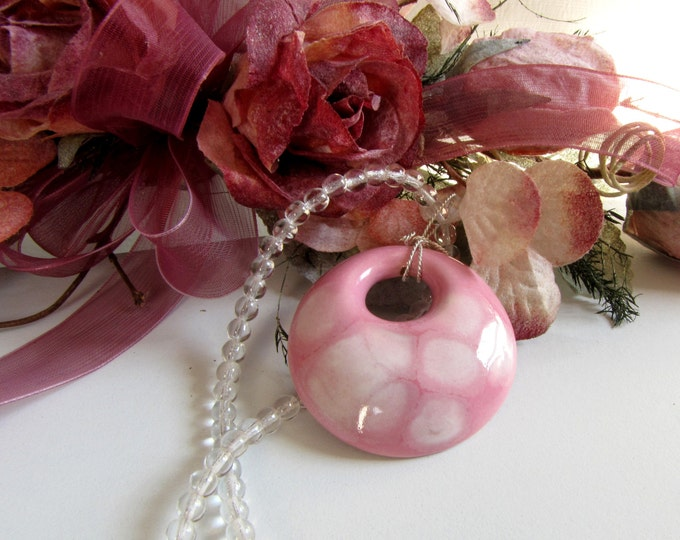 Ceramic Pink White Pendant Wire wrapped sterling silver bail Clear Round Bead Necklace