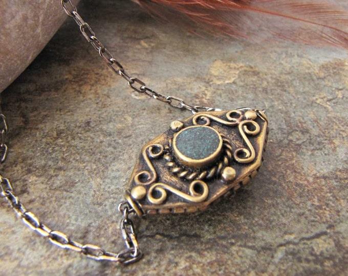 TibetanBead Pendant Antique Brass  Pendant Necklace Antique chain Necklace