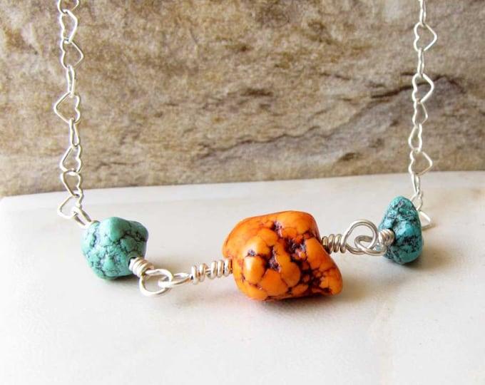 Orange Turquoise Necklace Turquoise Beaded Wire Wrapped Turquoise Jewelry handmade jewelry  Southwestern Jewelry boho chic   49