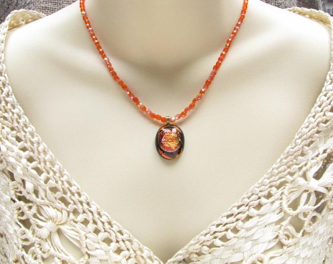 Orange Fused Glass Pendant Necklace Orange Black Crystal Bead Dichroic  Fused Glass Handmade Jewelry #93
