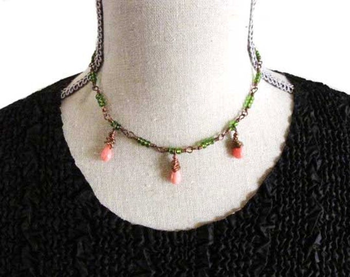 Green Copper Wire Wrapped Pink Glass teardrop bead necklace choker