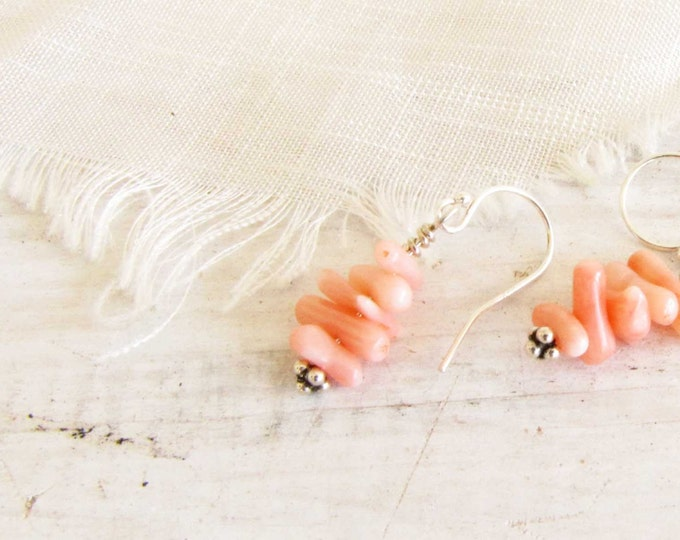 Coral Sterling Silver Dangle Earrings- Sterling Silver-Wire Wrapped-Shabby Chic-Boho chic- Soft Light Pink -Beach Handmade Jewelry # E7