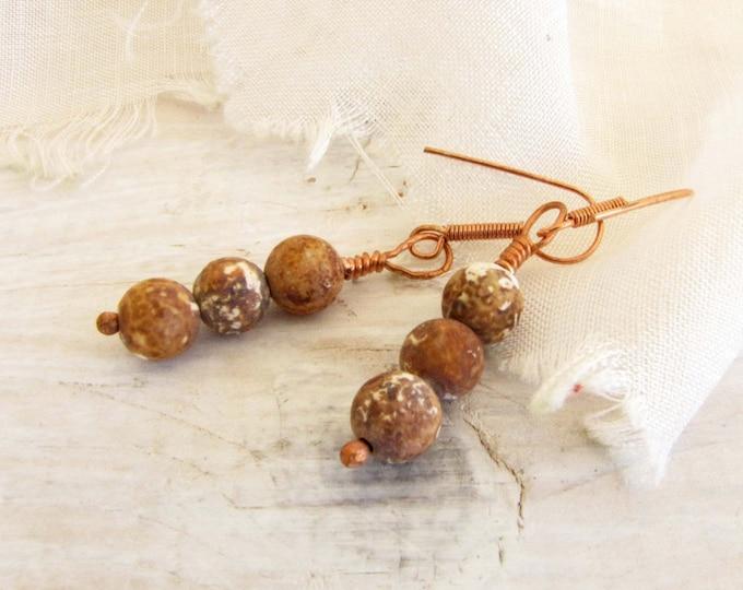 Antique Agate Bead Earrings Brown Cream Dangle Earrings Copper Wire Wrapped Handmade Jewelry # # E8