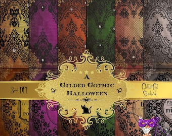 Gothic Romance Halloween Bats and Baubles 3 x 4 printable digital victorian gothic life journal cards planner gold and silver cards